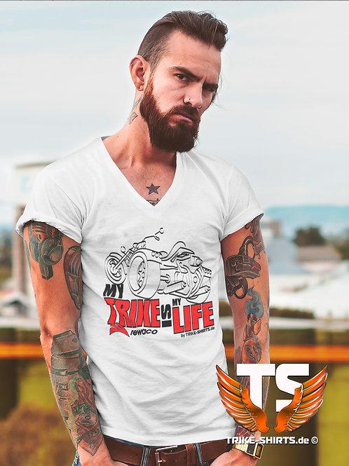 "V-Shirt Classic - ""My Trike is my Life"" 003MB - 2-farbig schwarz-rot"