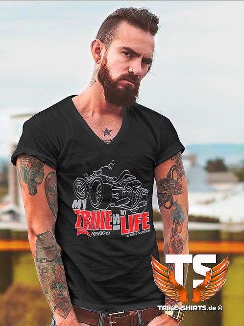 """V-Shirt Classic - """"My Trike is my Life"""" 003MB - 2-farbig silber-rot"""