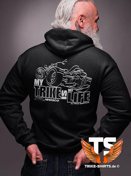 """Sweatshirt Hooded - """"My Trike is my Life"""" 002 - in 9 Flexfarben"""