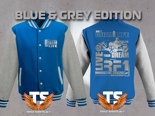 "College-Jacke RF1-LT ""Don´t Dream your Life"" in 6 Farben, Silberflex"