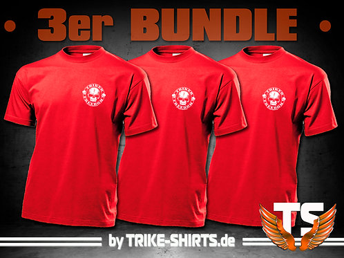 "T-Shirts Classic (3er Bundle) - ""Skull Freedom"" P001R - 1-farbiger Druck"