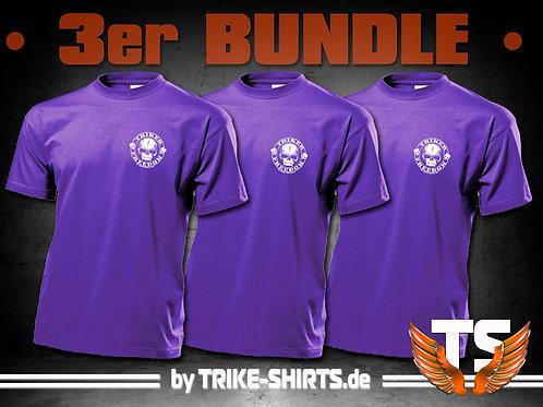 "T-Shirts Classic (3er Bundle) - ""Skull Freedom"" P001DB - 1-farbiger Druck"
