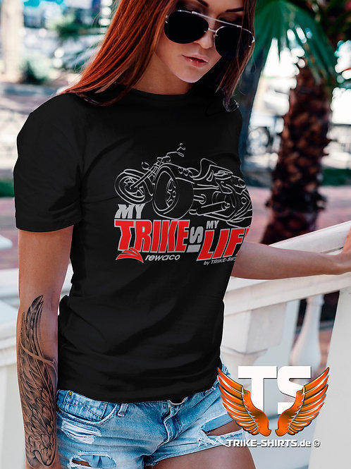 "T-Shirt Comfort - ""My Trike is my Life"" 003LB - 2-farbig silber-rot"