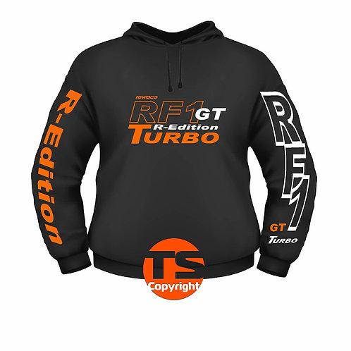 """Hoodie Sweatshirt - """"RF1 - GT-R-EDITION"""" in 8 Flexfarben, 2-farbig"""