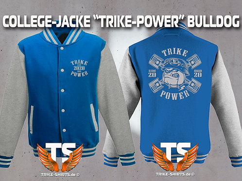 "College-Jacke Bulldog ""TRIKE POWER"" RIDE HARD 2020"" in 6 Farben, Silberflex"