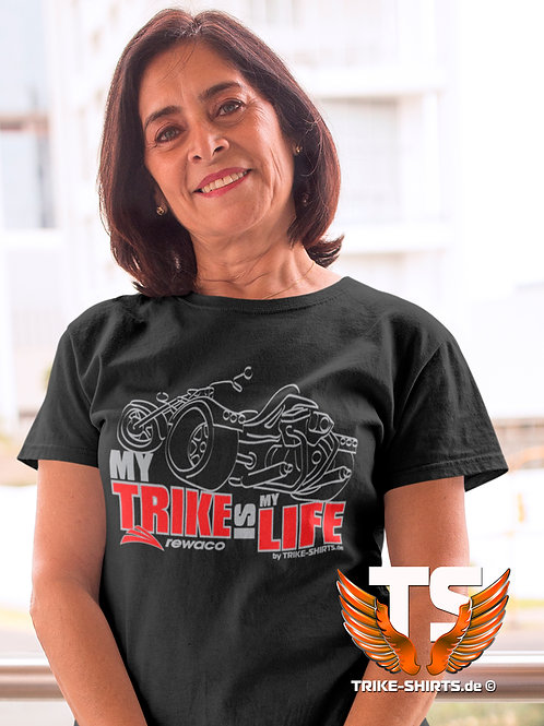 """T-Shirt Comfort - """"My Trike is my Life"""" 003LB - 2-farbig silber-rot"""