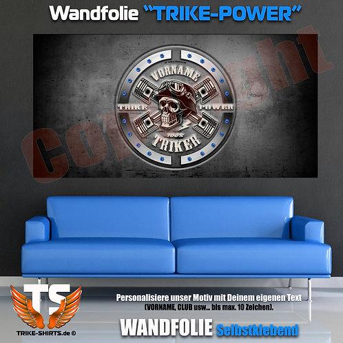 """Wandfolie-Quer """"Skull Trike Power"""" mit Vorname oder Club ...weiß"""