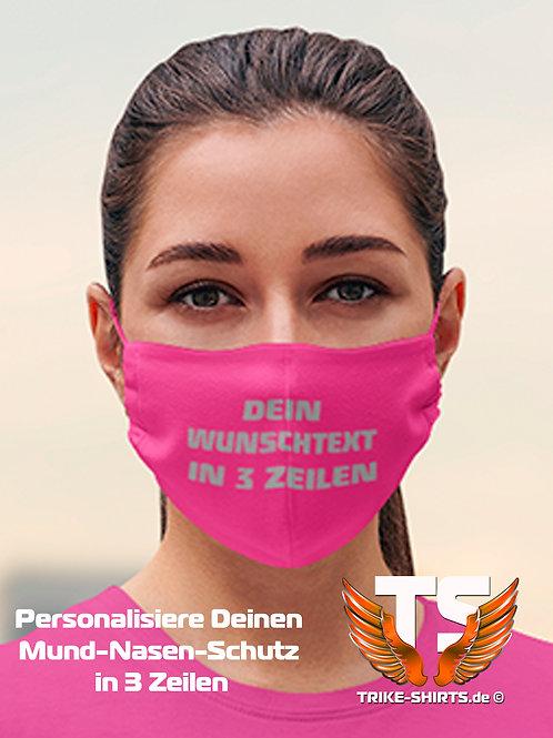 """Mund-Nasen-Schutz  - """"Personalisiere Deinen MNS in 3 Zeilen"""". SP 1-4 Stück"""