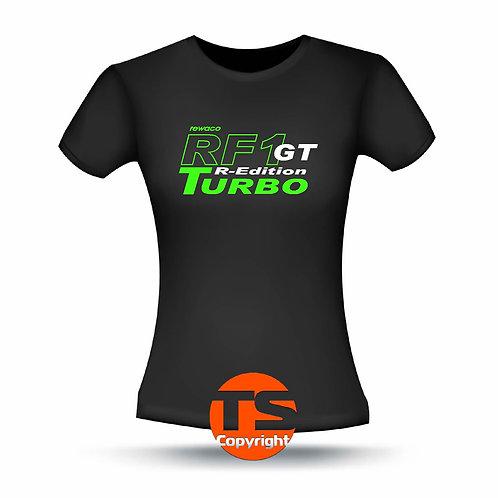 "T-Shirt Comfort - ""RF1 - GT-R-Edition Turbo"" in 8 Flexfarben, 2-farbig"