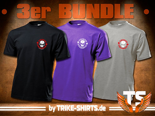 "T-Shirts Classic (3er Bundle) - ""Skull Freedom"" P001MBBG - 1+2-farbiger Druck"