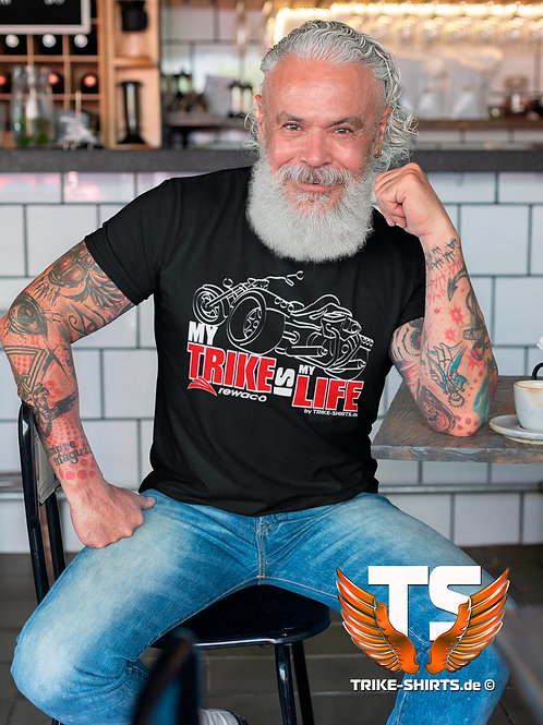 "T-Shirt Comfort - ""My Trike is my Life"" 003MB - 2-farbig weiß-rot"