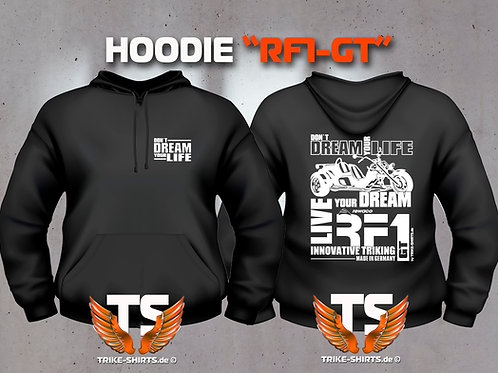 "Sweatshirt Hooded - RF1-GT ""Don´t Dream your Life"" Weißflex"