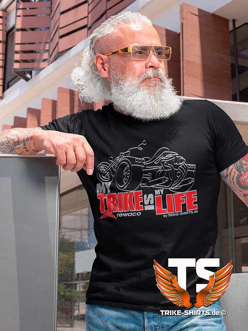 """T-Shirt Comfort - """"My Trike is my Life"""" 003MB - 2-farbig silber-rot"""