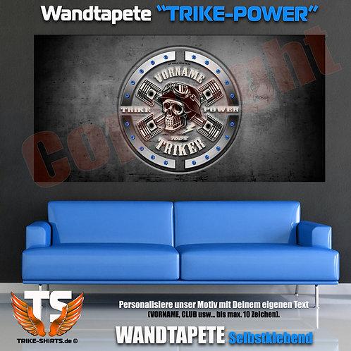 """Wandtapeten-Quer """"Skull Trike Power"""" mit Vorname oder Club ...weiß"""