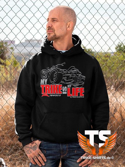"Sweatshirt Hooded - ""My Trike is my Life"" 003MSR - 2-farbig silber-rot"
