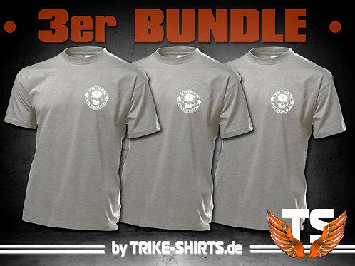 "T-Shirts Classic (3er Bundle) - ""Skull Freedom"" P001GH - 1-farbiger Druck"