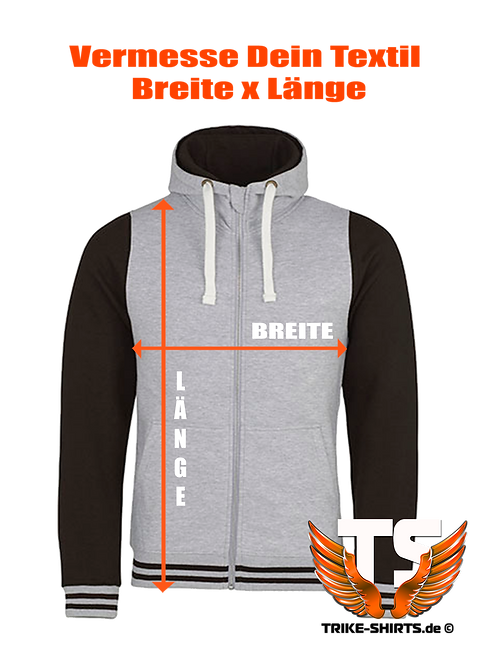 "JH051-Sweat Jacket Varsity  - ""PRODUKT"" in 3 Textilfarben,in 1 Flexfarben"