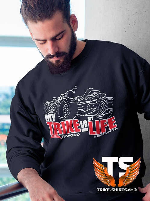 "Sweatshirt Set-In - ""My Trike is my Life"" 003MWR - 2-farbig weiß-rot"