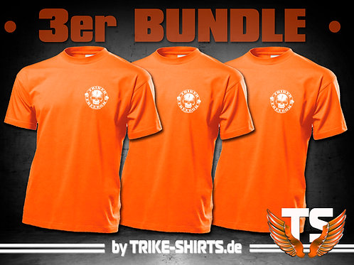 "T-Shirts Classic (3er Bundle) - ""Skull Freedom"" P001O - 1-farbiger Druck"