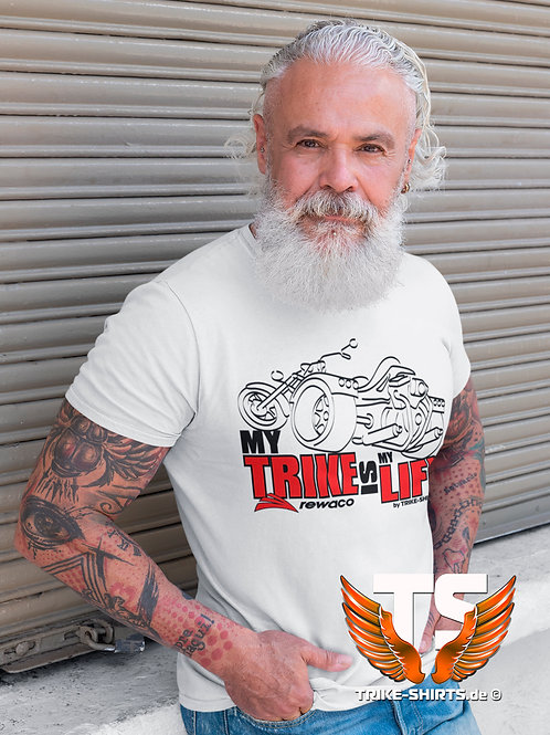 "T-Shirt Comfort - ""My Trike is my Life"" 003MB - 2-farbig schwarz-rot"