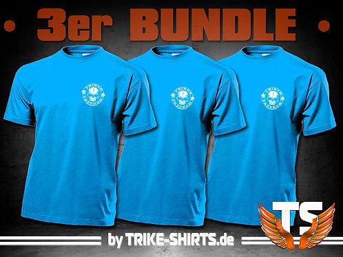 "T-Shirts Classic (3er Bundle) - ""Skull Freedom"" P001OB - 1-farbiger Druck"