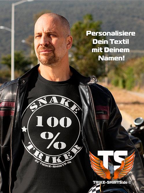 """T-Shirt Comfort - """"100% Triker"""" mit eigenem Namen in 8 Flexfarben"""