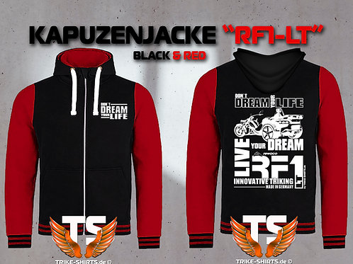 "Sweat Jacket Varsity  -  RF1-LT ""Don´t Dream your Life"" Weißflex"