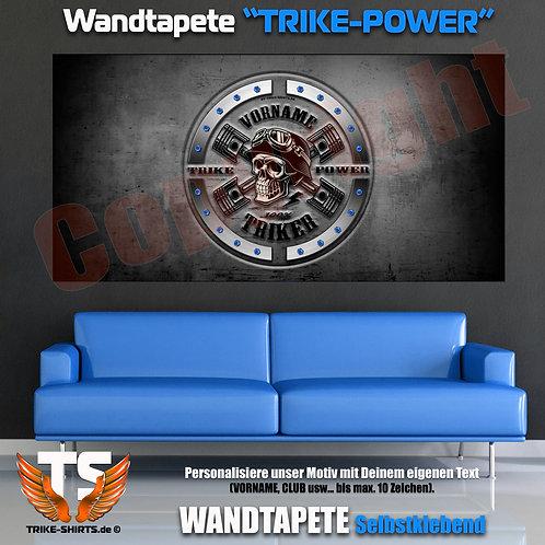 """Wandtapeten-Quer """"Skull Trike Power"""" mit Vorname oder Club ...schwarz"""