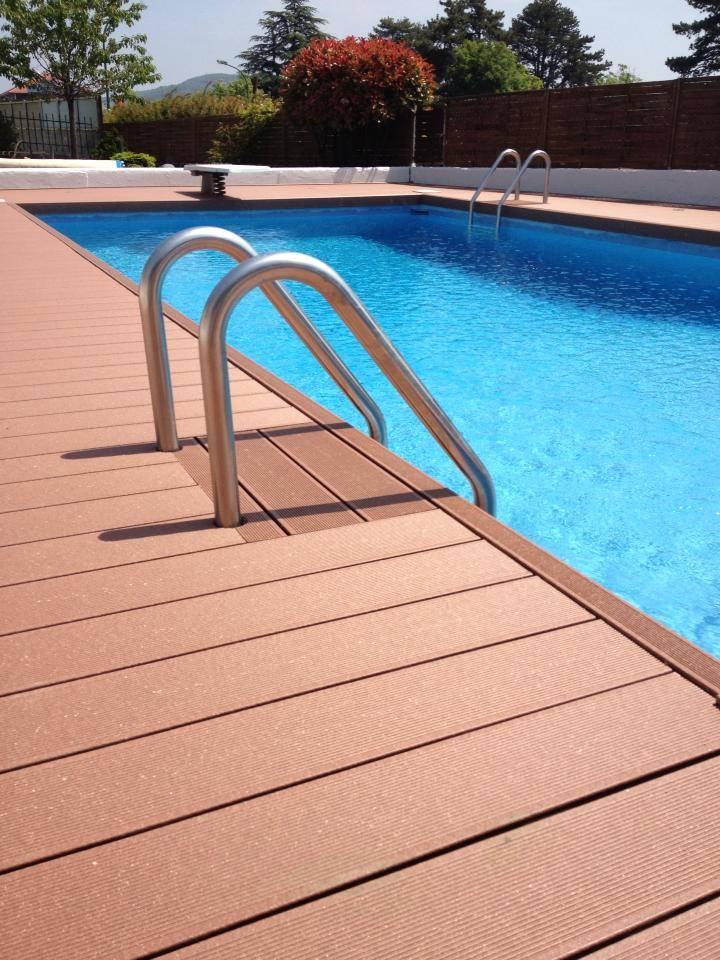 Poolside composite decking