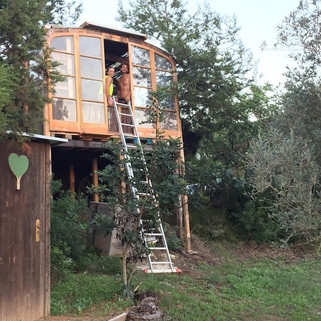 Home complete with compost toilet and a ladder for emergency exits