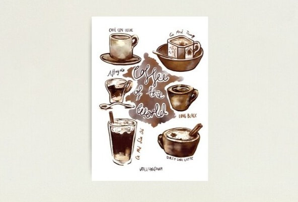 TRAVELLERS COFFEE PRINT A3