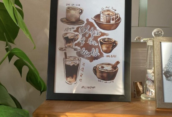 TRAVELLERS COFFEE PRINT A4