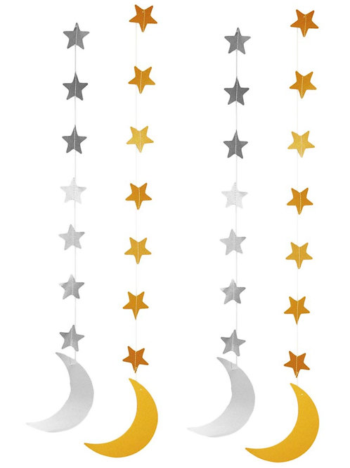 Silver and Gold Crescent Moon Hanging Eid Decorations (4 pack)