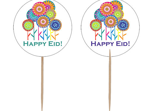 Happy Eid Flower Party Cupcake Toppers (12 pack)