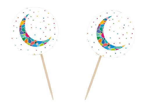 Crescent Moon Tile Work Motif Eid Ramadan Cupcake Toppers (12 Pack)