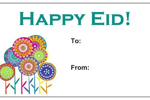 Happy Eid Flower Party Gift Tags (10 Pack)