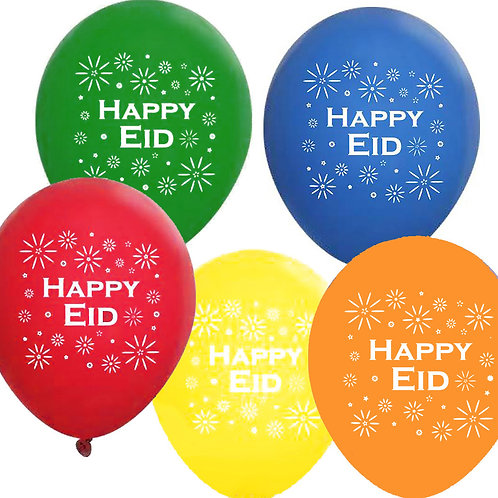 Multi-Colored Happy Eid Party Balloons (18 inch, 10 Pack)