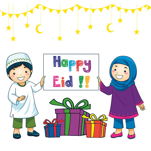 Eid Holiday Children Celebrate Eid Design Gift Stickers (Pack of 24)