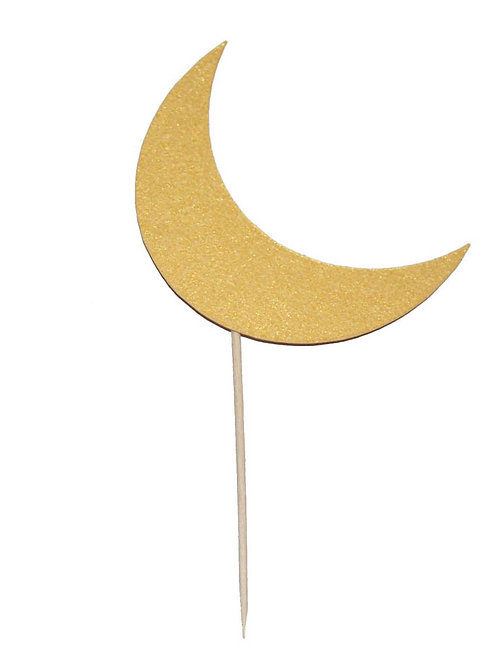 Crescent Moon Cupcake Toppers and Party Picks (12 Pack) (Gold)