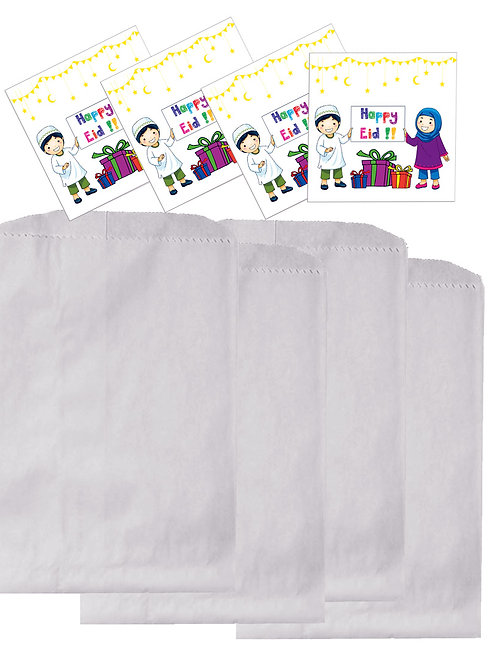 Eid Holiday Children Celebrate Design Gift Sticker and Treat Bags (Pack of 12)