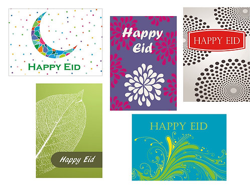 Contermporary Happy Eid Greeting Cards (Pack of 10 Mixed)