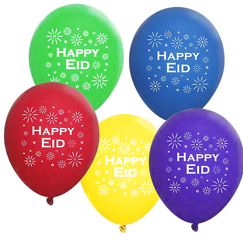 Multi-Colored Happy Eid Party Balloons (11 inch, 10 Pack)