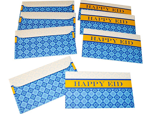 Eid Holiday Gift Money Envelopes Blue Tile Happy Eid Design (8 pack)