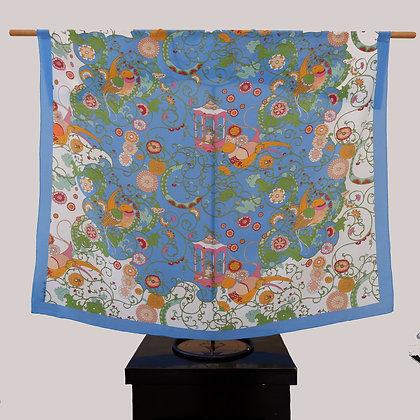 Sky Blue Birds silk scarf