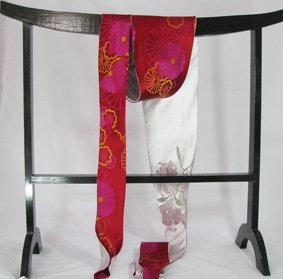 Red shibori & lilium obi tie