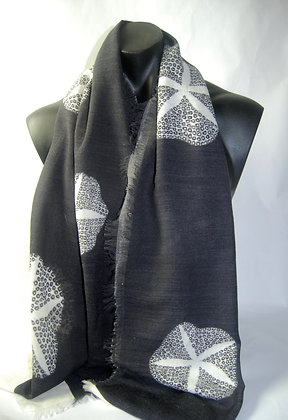Black 'Morning Glory' wool silk scarf