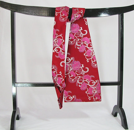 Red on red reversible obi tie