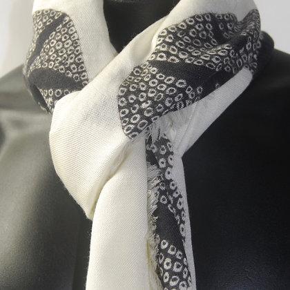 White 'Morning Glory' wool silk scarf