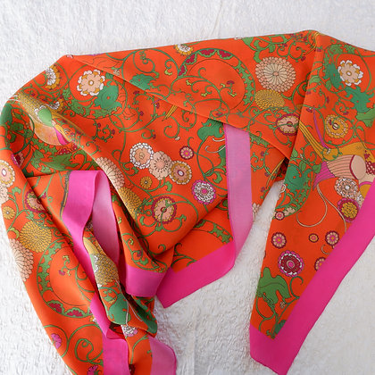 Red Birds silk scarf