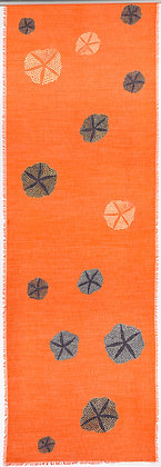 Orange Echinoids wool silk shawl